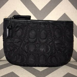 Rare Coach Quilted Leather Trim Pouch/Makeup Bag